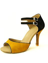 Zapatos de baile (Amarillo/Rojo) - Danza latina/Salsa - Personalizados - Tacón Personalizado