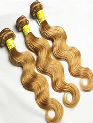 """Extensão 3pcs / mel muito loiro ondulado trama virgem brasileira humano onda do corpo cabelo tece 8 """"-34"""""""