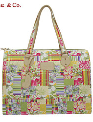 Kate@Co.® Women's  Pvc Figured Cloth OL Style Capacity Leisure  Stripe Hanging Drop COLor Splicing Canvas Bag(12 Inch)