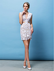 LAN TING BRIDE Sheath / Column Wedding Dress See-Through Short / Mini V-neck Lace with Appliques