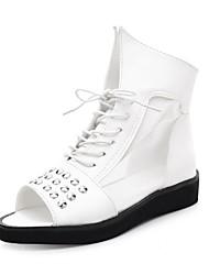 Zapatos de mujer - Tacón Bajo - Punta Abierta - Sandalias - Oficina y Trabajo / Vestido - Semicuero - Negro / Blanco