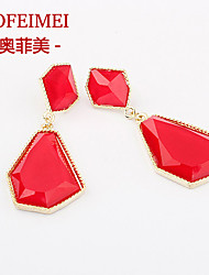 Korean fashion high-end jewelry gemstone earrings geometry