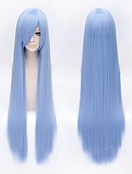 Perruques de Cosplay Reborn! Cosplay Bleu Long Anime Perruques de Cosplay 100 CM Fibre résistante à la chaleur Masculin / Féminin