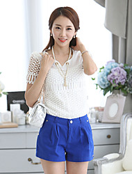Women's Casual/Daily Simple Summer Blouse,Solid V Neck Short Sleeve White Medium