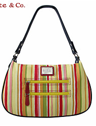 Kate&Co.® Women's Real Leather Figured Cloth Stripes Hobos Bag