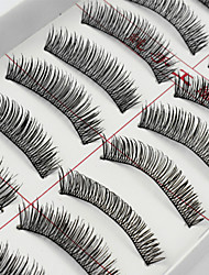 10 Pairs Handmade Natural Long Black False Eyelashes Soft Thick Fake EyeLashes Makeup Eyelashes Extensions