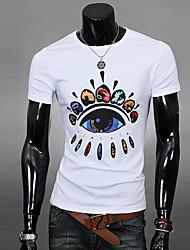 T-Shirts ( Algodão ) MEN - Casual/Trabalho Redondo - Manga Curta
