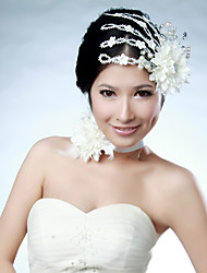 Women Satin Flowers With Imitation Pearl Wedding/Party Headpiece&Neck Ring Set