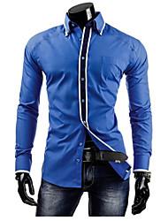 Chemises informelles ( Coton mélangé ) Informel Col chemise à Manches longues pour Homme