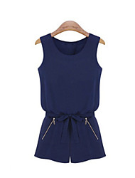 Women's Blue Jumpsuits , Casual Short Sleeve