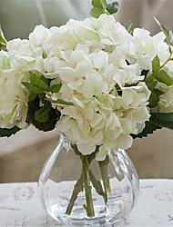 cinco hygrangeas brancas artificiais flores com vaso