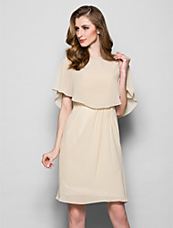 Women's Wrap Capelets Sleeveless Chiffon Champagne Wedding / Party/Evening Scoop 39cm Draped Pullover