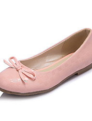 Women's Shoes Patent Leather Flat Heel Round Toe Flats Dress/Casual Pink/White/Beige