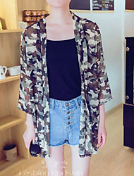 Women's Casual Protective Camouflage Clothing ¾ Sleeve Long Blouse (Chiffon)