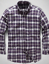 U&Shark New Hot! Men'sSanded 100% Cotton Leisure Flannel Long Sleeve Shirt with Purple White Blue Check/QFL016