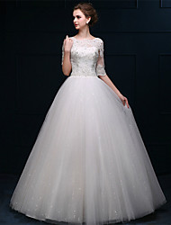 A-line Floor-length Wedding Dress -Bateau Tulle