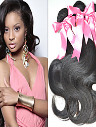 "3 Pcs/Lot 8""-34"" Indian Unprocessed Virgin Hair Natural Black Color Body Wave Hair Extension. Free Tangle Free Shipping!"