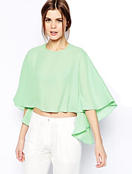 2015 Summer New Arrival Women Shirt Half Batwing Sleeve O-Neck Chiffon Asymmetric Cropped  Sexy Blouses