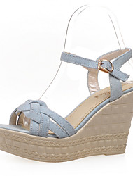 Women's Shoes Denim Wedge Heel Wedges/Peep Toe Sandals Office & Career/Dress Black/Blue/Navy