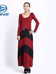 CANIS@Women's Scoop Neck Empire Waist Long Maxi Dress (Polyester)