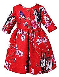 Three Quarter Sleeve Girl Dress Princess Animal Pattern Children Dresses Baby Girls Dress  Brand Kids Dresses For Girls