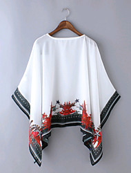Women's Sexy Summer Blouse,Print Asymmetrical Long Sleeve White / Black Thin