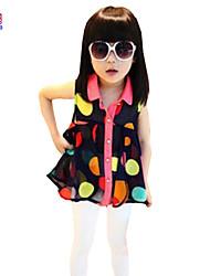 Little Kids Girls Baby Children Summer Lapel Dot Chiffon Blouse 3-7 Years Top Clothing