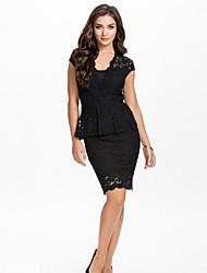 Vestidos ( Beige/Negro , Poliéster/Licra , Desempeño/Ropa de Noche ) - Desempeño/Ropa de Noche - para Mujer
