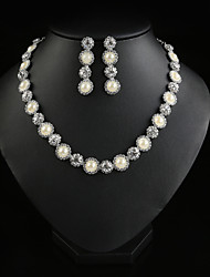 Luxury Full of Crystal Pearl Necklace(Includes Necklace & Earrings) Jewelry Set(Gold,Silver)