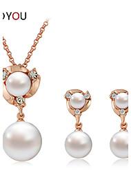 Women's Cubic Zirconia/Alloy/Imitation Pearl Wedding/Party Jewelry Set With Imitation Pearl/Rhinestone/Cubic Zirconia