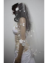 Wedding Veil One-tier Waltz Veils Sticky Flower Cut Edge
