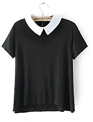 Women's New Fashion Casual/Cute Micro-elastic Short Sleeve Regular Shirt Top Blouse (Cotton)