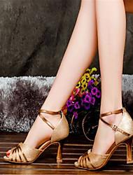 Women's Dance Shoes Latin Satin Flared Heel Gold