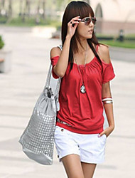 Women's Strap Off Shoulder Scoop Neck Short Sleeve T-shirt
