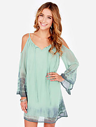 Women's V-Neck Dresses , Chiffon Beach/Party Long Sleeve SASA