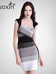 nuoxin® Women's V-Neck Package Buttocks  Cultivate One's Morality Stretch The Bandage Sexy Dress