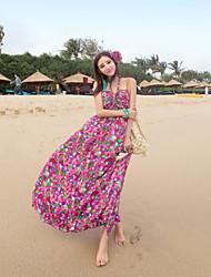 Women's Yellow/Purple Dress , Sexy/Beach/Print Halter Sleeveless