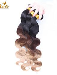 3st / lot 14-26inch eurasian jungfru hår buntar färg 1B4 / 27 vågigt ombre jungfru hårförlängningar