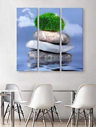 e-Home® allungata tela pietra sovrapposti set pittura decorativa di 3