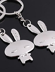 Alloy Silver Plated Rabbit Keychain Key Ring for Lover Valentine's Day(One Pair)