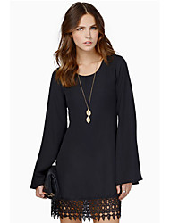 Women's U Neck Dress , Chiffon Above Knee Long Sleeve