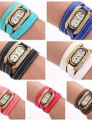 les femmes ovales diamnate pu robe de support de dame marque de maroquinerie de luxe montre-bracelet (couleurs assorties) c&D-263