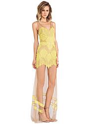 Women's Sexy/Bodycon/Lace/Party Sleeveless Maxi Dress - Yellow