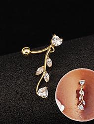 Femme Navel & Bell Button Rings Acier inoxydable / Zircon Bijoux,1pc