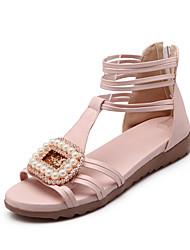 Sandalias ( Amarillo/Rosado/Dorado/Beige Zapatos con plataforma/Punta abierta - Tacón Cuña - Cuero sintético - para MUJERES