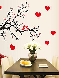 decalques de parede adesivos de parede, estilo do pássaro do amor de parede galho de árvore pvc adesivos