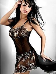 Donna Uniformi e abiti tradizionali cinesi Completi Babydoll e slip Lingerie di pizzo Raso e seta Sensuale Body Indumenti da notte
