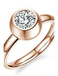 OPK®Elegant Ms 18 K Rose Gold Plated Zirconium Large Drilll Good Luck Ring
