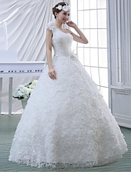 Ball Gown Wedding Dress Floor-length One Shoulder Lace / Velvet Chiffon