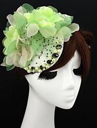 Handmade Green Chiffon Rhinestone Lace Flower Feather Hair accessories Bridal Wedding Fascinator